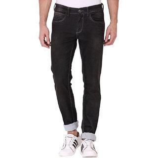 Kozzak Men's Casual Skinny Fit Stretchable Black Jeans