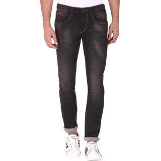 Kozzak Men's Casual Skinny Fit Stretchable Brown Jeans