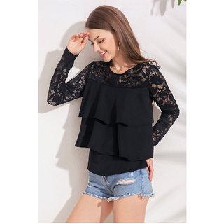 Aashish Garments - Black Net Layer Crepe Women Top
