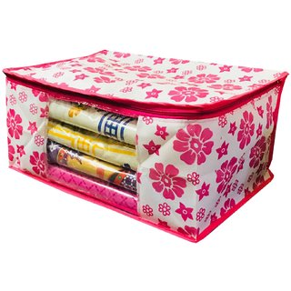 Kuber Industries Extra Large Size Non Woven Saree Cover Pink Floral Design Set of 12 Pcs (90 GSM Fabric) -NS20