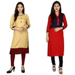 Boutique Ever Chiku color kurti and Red,Blue Kurti combo set in rayon fabric (Combo)