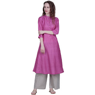 The Kalashop Women's Pink Block Print Cotton Stitched Kurti