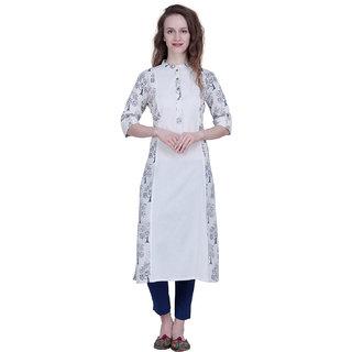 The Kalashop Women's White Block Print Cotton Stitched Kurti
