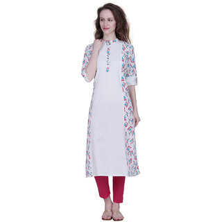 The Kalashop Women's White Block Print Cotton Stitched Kurti