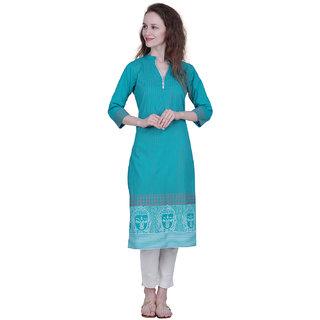The Kalashop Women's Turquoise Block Print Cotton Stitched Kurti