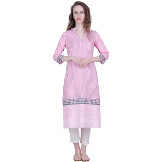 The Kalashop Women's Pink Block Print Cotton Stitched Kurti