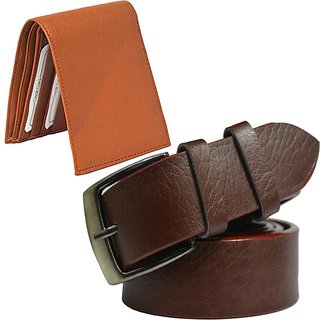 Sunshopping mens brown leatherite needle pin point buckle belt with tan leatherite bifold wallet (combo)