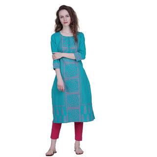 The Kalashop Women's Blue Block Print Cotton Stitched Kurti