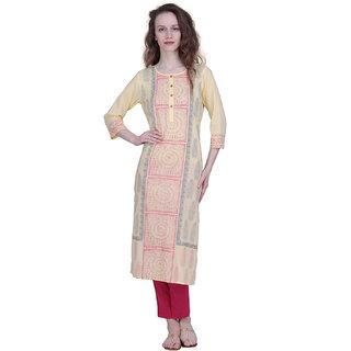 The Kalashop Women's Yellow Block Print Cotton Stitched Kurti