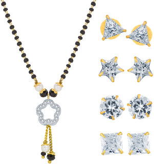 The Luxor Gold Plated Managalsutra   4 pairs of Diamond Stud Earrings Combo Pack