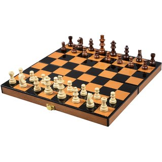 Cerasus Foldable Travel Chess Board Box Walnut Color with High Gloss Finish (BOG 048)