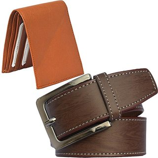 Sunshopping mens brown leatherite needle pin point buckle belt with tan leatherite bifold wallet (combo) (Synthetic leather/Rexine)