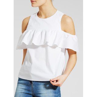 86b0f23851c39 Buy Raabta white cold shoulder Top Online - Get 69% Off