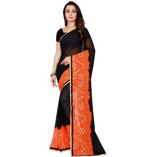 sharda creation Multicolour Tussar Silk Bandhej Saree With blouse