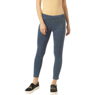 Miss Chase Women's Blue Super Skinny Fit Jeggings