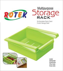 kudos Multipurpose Space Saver Plastic Storage Shelf Holder Box Fridge Sliding Drawer Freezer Refrigerator Organizer