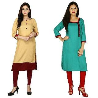Boutique Ever Chiku color kurti and Turquise Color Kurti combo set Kurti  in rayon fabric Combo Of 2
