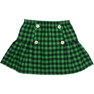 Lil Orchids Girls Green Checked Skirts