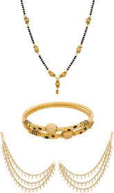 The Luxor Gold Plated Bahubali Style Hair Chain - Managalsutra - Bangles Combo Pack