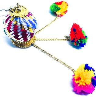 FreshVibes Pom Pom Earrings for Women - Multi Colour Tassel Pompom Fur Funky Ear Rings Alloy, Fabric Tassel Earring