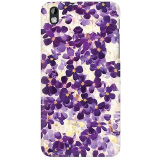 Mobicture Purple Floral Hub Premium Printed High Quality Polycarbonate Hard Back Case Cover For HTC Desire 816 With Edge To Edge Printing