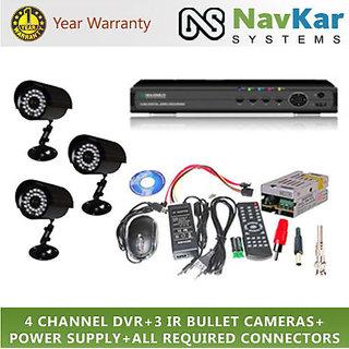 Set of 3 IR BULLET 850 TVL CCTV Cameras  4 ch DVR With All Requi Connectors
