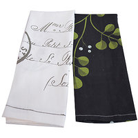 Flazee Black And White Floral Printed Hand Towels