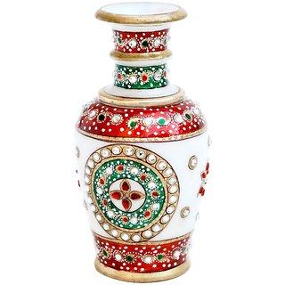 Multi Colored Gold Embossed Marble Flower Vase