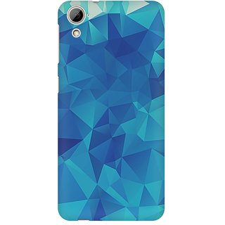 Mobicture Blue Geometric Premium Printed High Quality Polycarbonate Hard Back Case Cover For HTC Desire 820 With Edge To Edge Printing