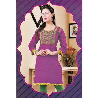 2045 XXL Cotton Embroidered Neckline Three Fourth Sleeve Ethenic Kurti