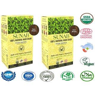 Radico Sunab Herbal Dark Brown Hair Color - 100g (Set of 2)