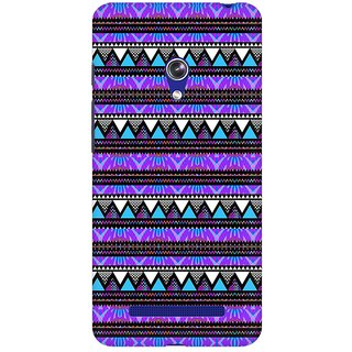 Mobicture Purple Geometry Premium Printed High Quality Polycarbonate Hard Back Case Cover For Asus Zenfone Go With Edge To Edge Printing
