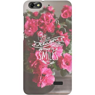 Mobicture Floral Smile Premium Printed High Quality Polycarbonate Hard Back Case Cover For Huawei Honor 4C With Edge To Edge Printing