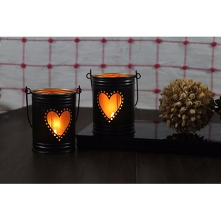 Hosley Set Of 2, 4Inch Black/Gold Heart Shape bucket, with free 6 unscented tealight