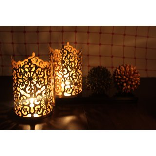 Hosley Set of 2 Gold Metal Sleeve - With Free 6 Unscented Tealights