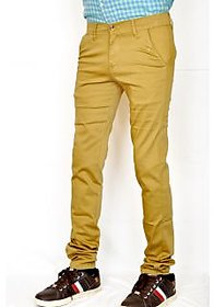 Routeen Men's Brown Slim Fit Formal Trousers