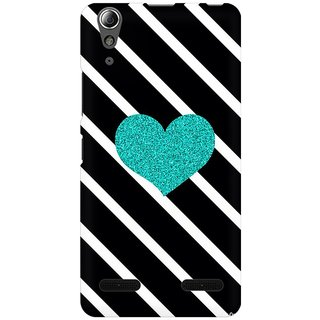 Mobicture Blue Heart Geometry Premium Printed High Quality Polycarbonate Hard Back Case Cover For Lenovo A6000 Plus With Edge To Edge Printing