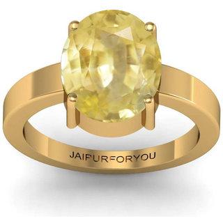 Jaipurforyou Certified Yellow Sapphire(Pukraj)  3.00 cts or 3.25 ratti Panchdhatu ring