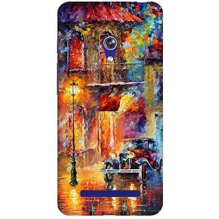 Mobicture Oil Painting Car Premium Printed High Quality Polycarbonate Hard Back Case Cover For Asus Zenfone 5 With Edge To Edge Printing