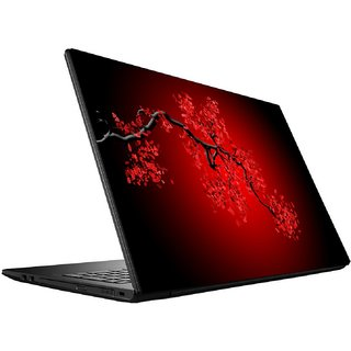 VIKRA Chinese Blossom Animation Laptop Skin For 14 to 15.6 Inches Laptops (Red)