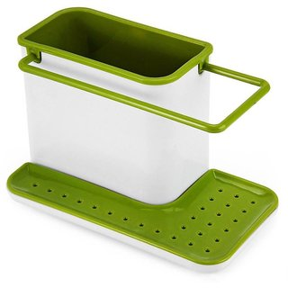 Organized Stand Shelf-draining Sink Tidy Cleaning Caddy Bath Accessories Sink Sponge Holder (Plastic)