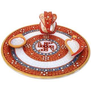 Marble Pooja Thali Embellisehd With Kundan Work