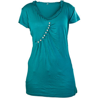 Strawberry T-Shirts for Women - White Pearls - Green