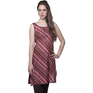 W - Women Printed Cotton Kurta Burgundy - Brown