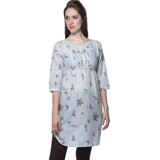 W - Women Printed Cotton Kurta Light Blue