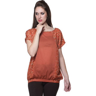 W - Women Printed Cotton Trendy Top Rust