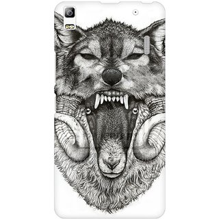 Mobicture Screaming Wolf Premium Printed High Quality Polycarbonate Hard Back Case Cover For Lenovo A7000 With Edge To Edge Printing