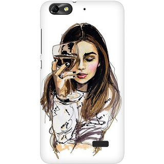 Mobicture Wine Girl Premium Printed High Quality Polycarbonate Hard Back Case Cover For Huawei Honor 4C With Edge To Edge Printing