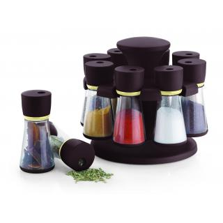 capital Revolving Spice Rack / Masala Rack Brown ABS Plastic Box 8-Jars