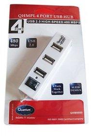Quantum 4 Port USB Hub with Switch (multi color)